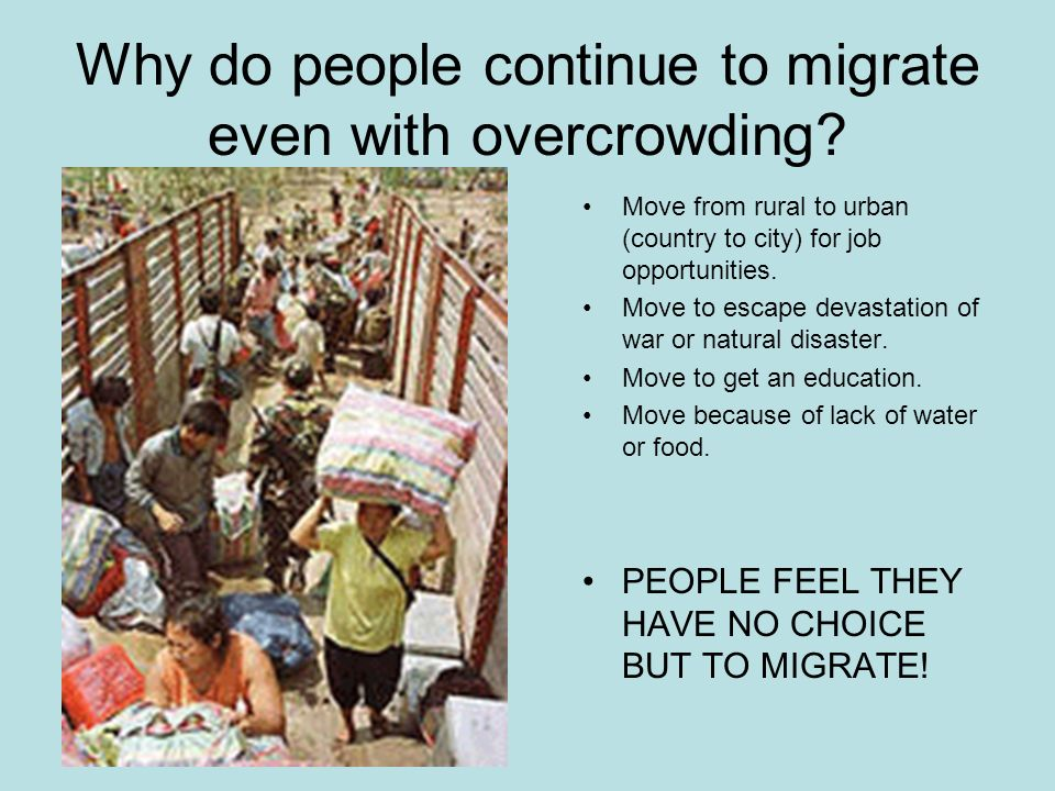 Why do people continue to migrate even with overcrowding.