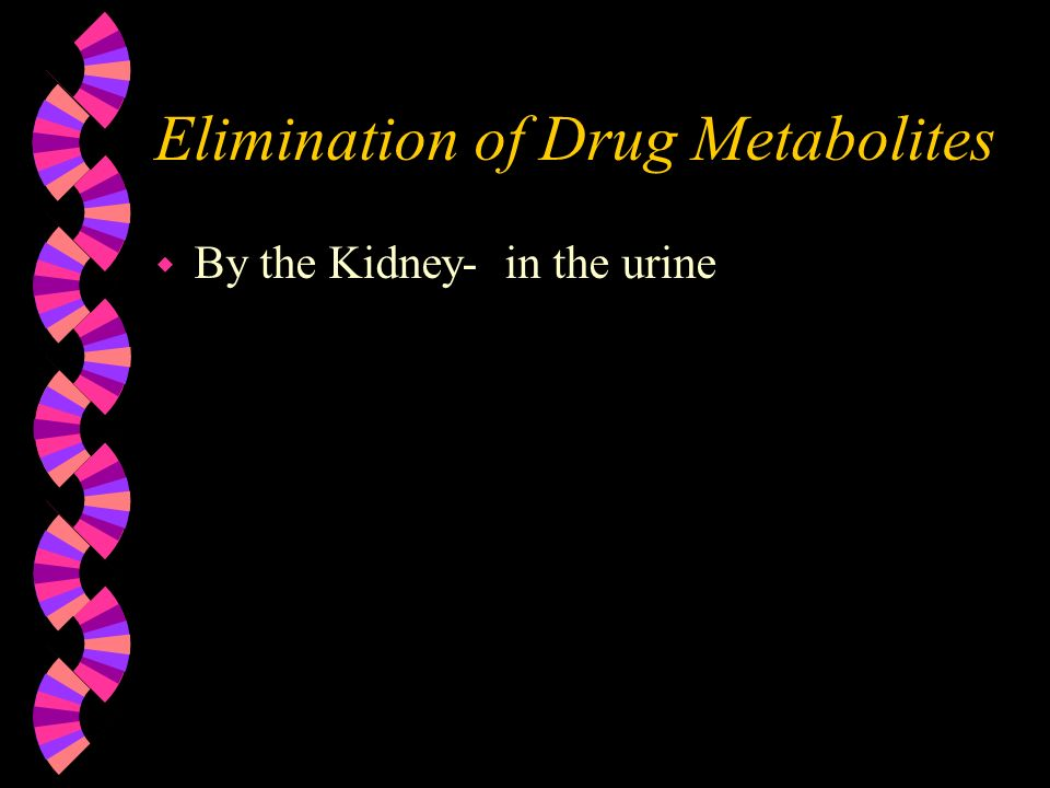 Elimination of Drug Metabolites w By the Kidney- in the urine