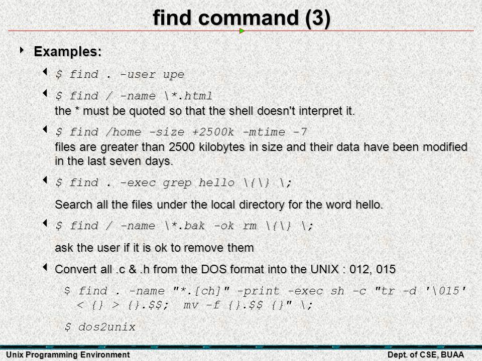 Unix Programming Environment Part 3-3 File Systems in Unix Prepared