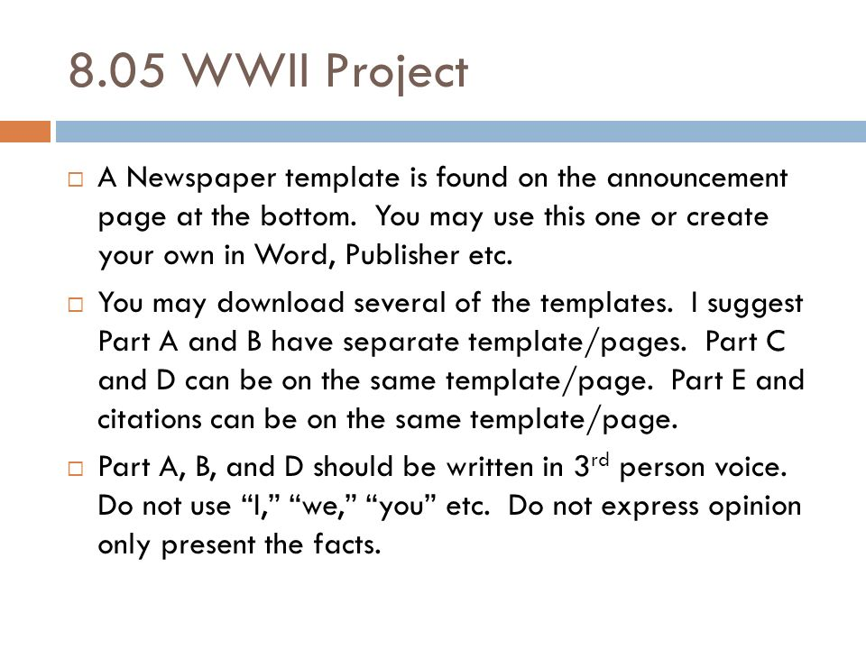 805 Wwii Project A Newspaper Template Is Found On The