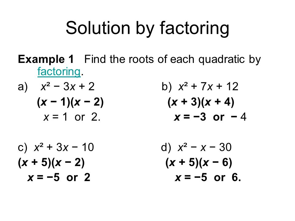 solving quadratic equations by factoring. solution by factoring