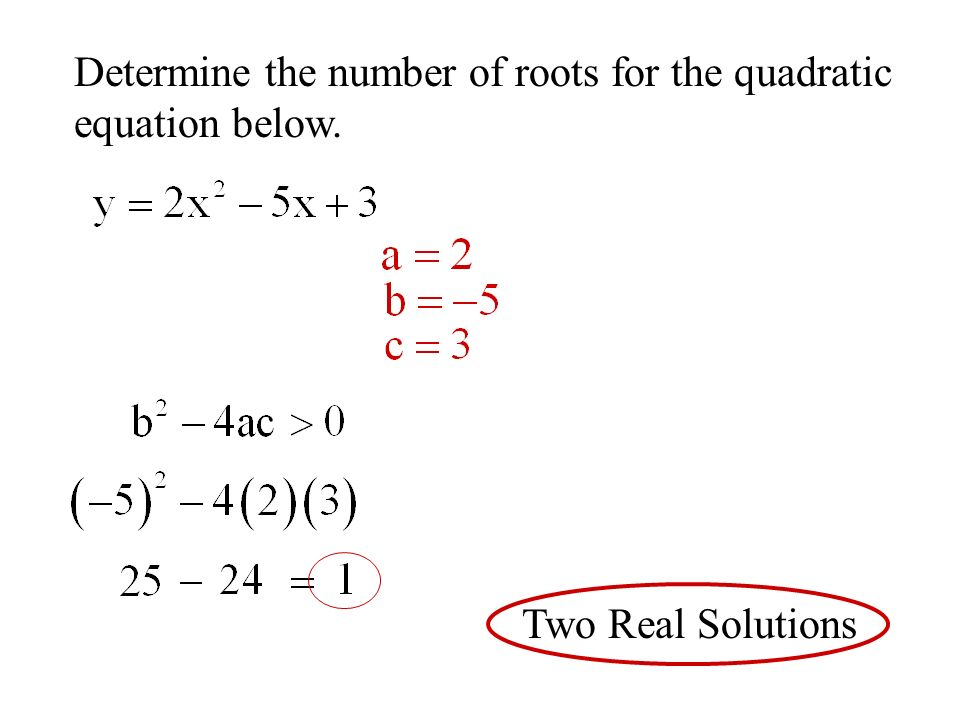 Determine the number of roots for the quadratic equation below. Two Real Solutions