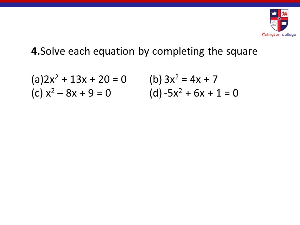 1. Solve the following quadratic equation using factorization method, a.