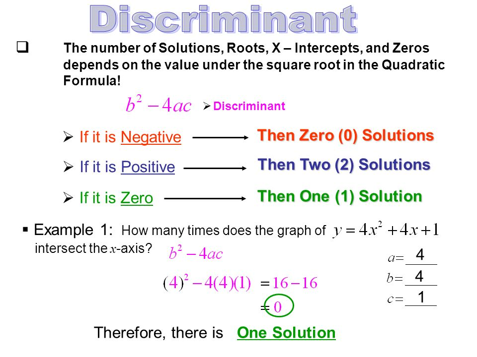  The number of Solutions, Roots, X – Intercepts, and Zeros depends on the value under the square root in the Quadratic Formula.