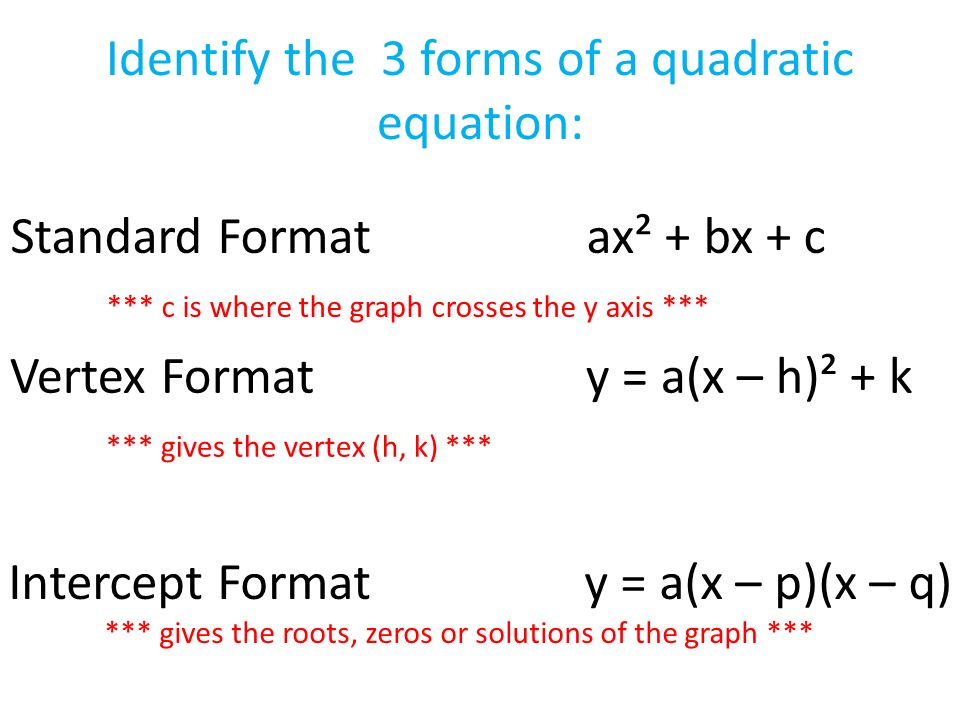 Identify the 3 forms of a quadratic equation: Standard Formatax² + bx + c *** c is where the graph crosses the y axis *** Vertex Formaty = a(x – h)² + k *** gives the vertex (h, k) *** Intercept Formaty = a(x – p)(x – q) *** gives the roots, zeros or solutions of the graph ***