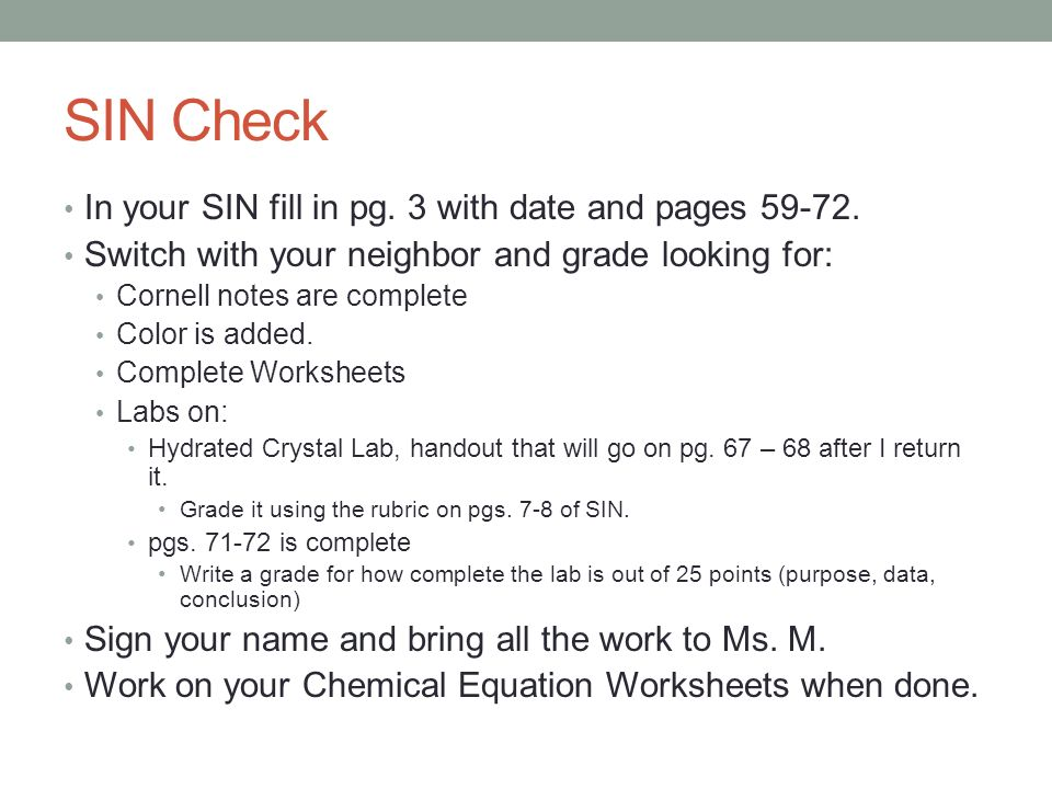 02/09/15 To Do: Bell Work Chemical Equations Family Project