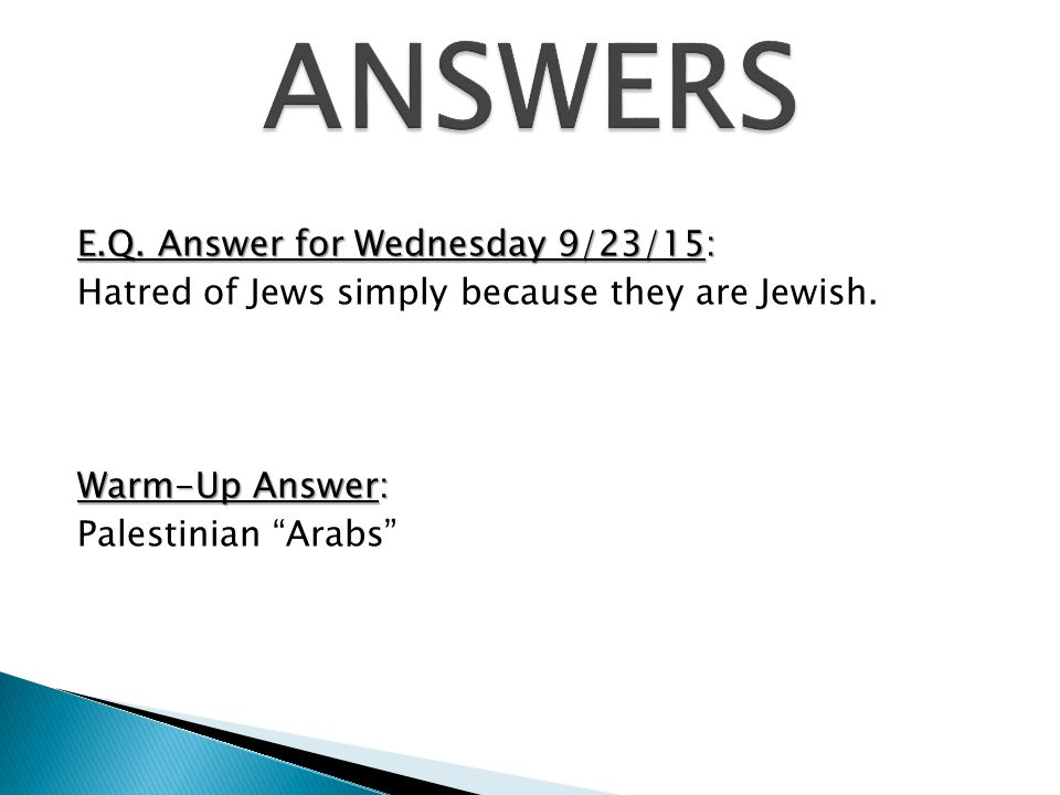 E.Q. Answer for Wednesday 9/23/15: Hatred of Jews simply because they are Jewish.