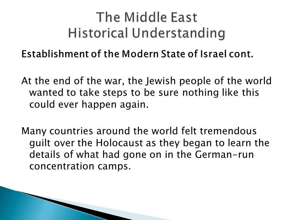 Establishment of the Modern State of Israel cont.