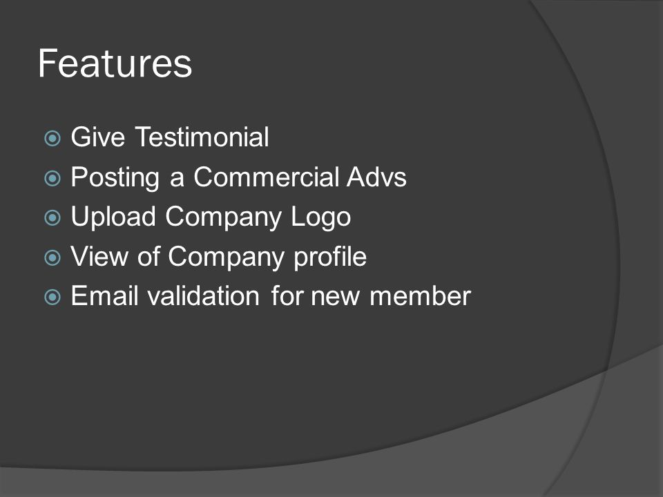 Arnold Geraldo Designing and Making of The Online Auction Website Using CakePHP Framework. - ppt download Features Give Testimonial Posting a Commercial Advs Upload Company Logo View of Company profile Email validation for new member - 웹
