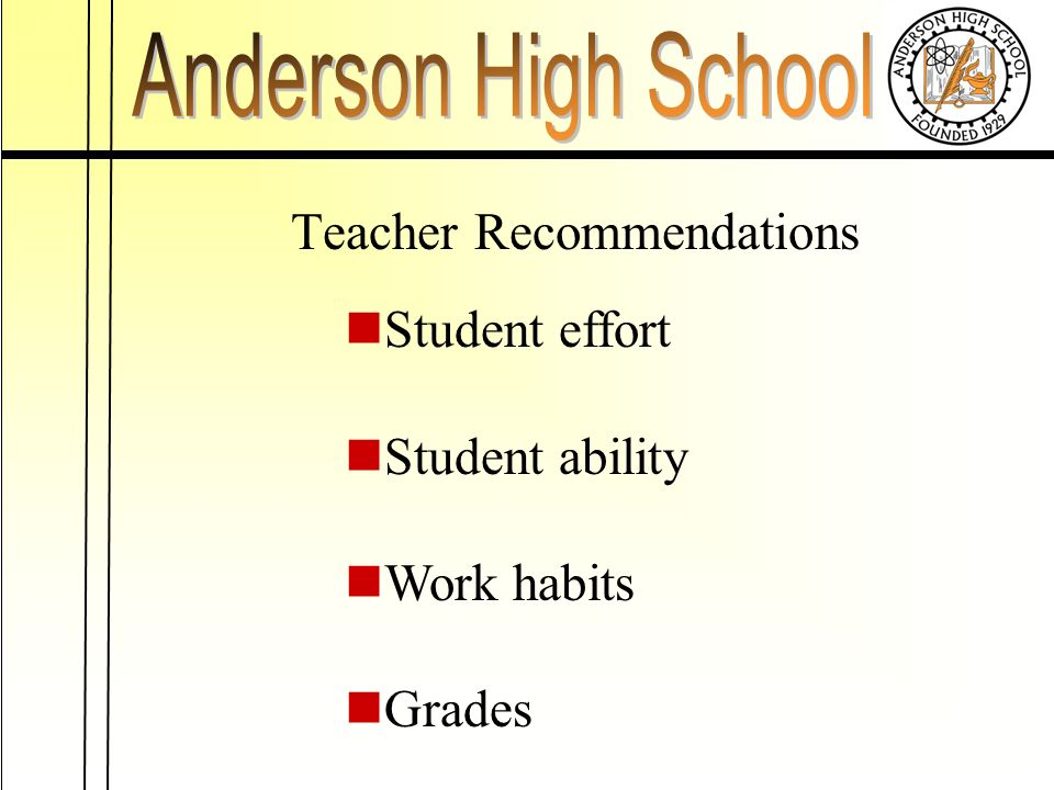 Teacher Recommendations Student effort Student ability Work habits Grades