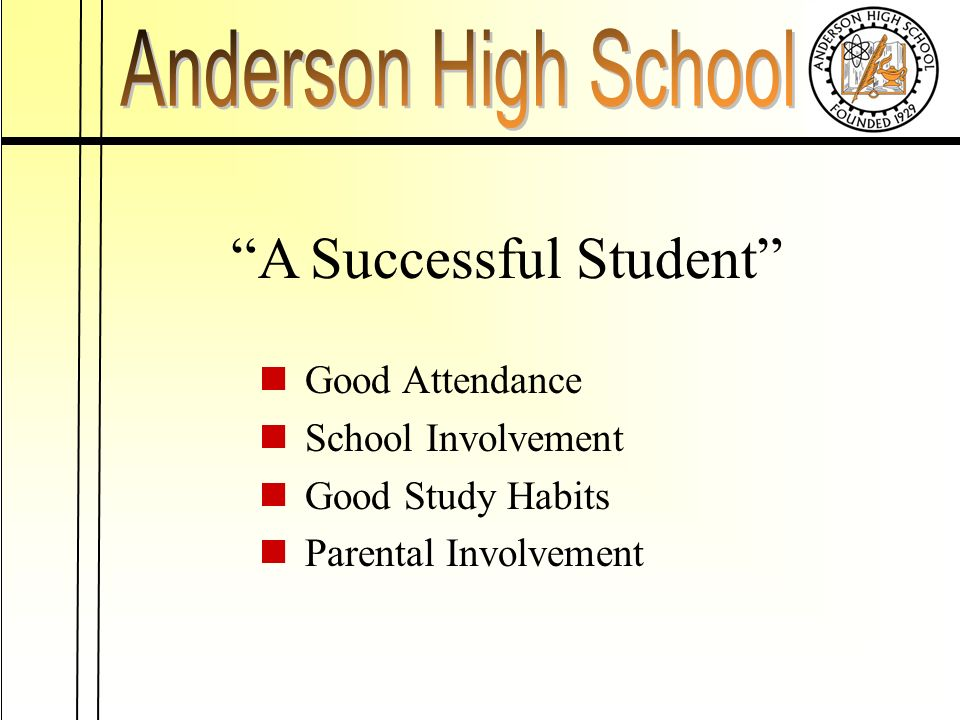 A Successful Student Good Attendance School Involvement Good Study Habits Parental Involvement