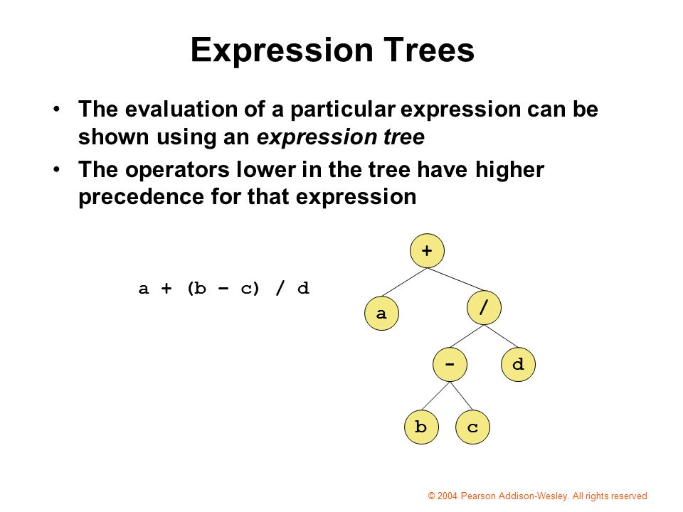 Expression Trees The evaluation of a particular expression can be shown using an expression tree The operators lower in the tree have higher precedence for that expression a + (b – c) / d a + / -d bc © 2004 Pearson Addison-Wesley.