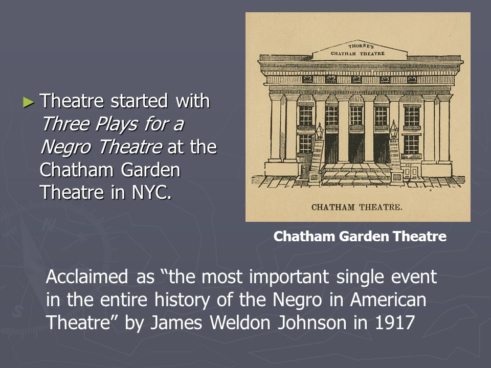 ► Theatre started with Three Plays for a Negro Theatre at the Chatham Garden Theatre in NYC.