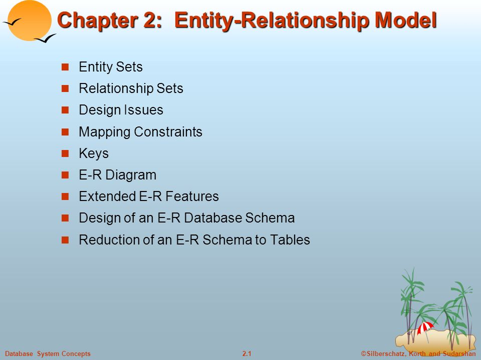 ©Silberschatz, Korth and Sudarshan2.1Database System Concepts Chapter 2: Entity-Relationship Model Entity Sets Relationship Sets Design Issues Mapping Constraints Keys E-R Diagram Extended E-R Features Design of an E-R Database Schema Reduction of an E-R Schema to Tables