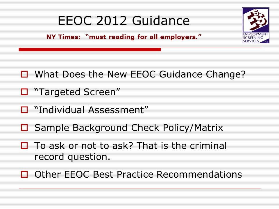 Criminal background checks eeoc guidance on sexual orientation