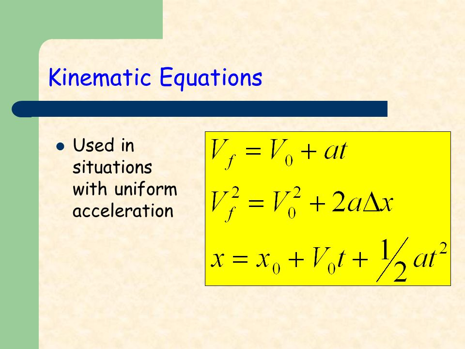 Kinematic Equations Used in situations with uniform acceleration