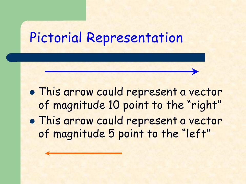 Pictorial Representation This arrow could represent a vector of magnitude 10 point to the right This arrow could represent a vector of magnitude 5 point to the left