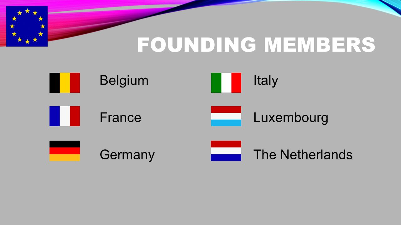 FOUNDING MEMBERS Belgium France Germany Italy Luxembourg The Netherlands