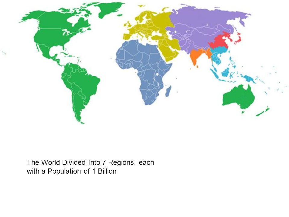 29 The World Divided Into 7 Regions, Each With A Population Of 1 Billion