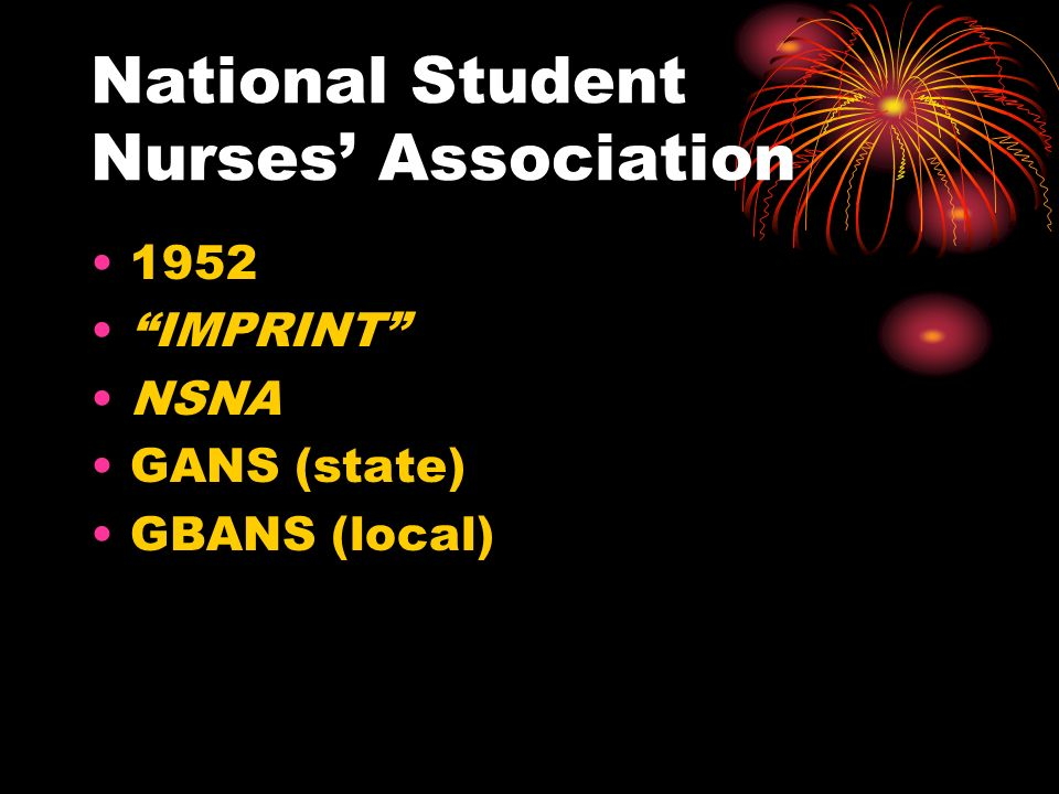 National Student Nurses' Association 1952 IMPRINT NSNA GANS (state) GBANS (local)