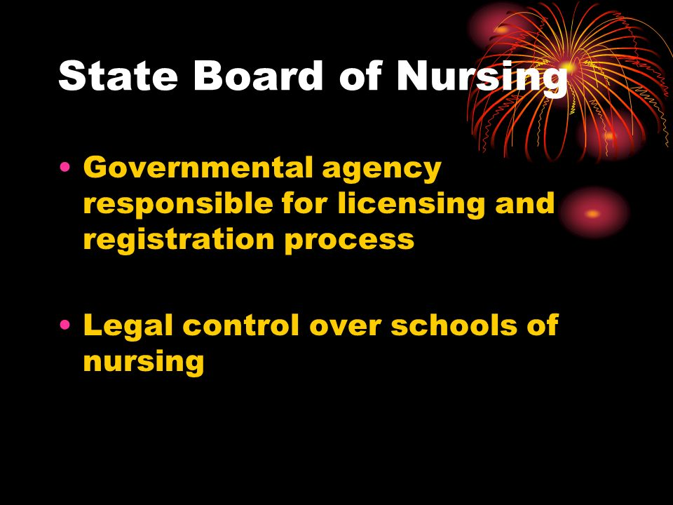 State Board of Nursing Governmental agency responsible for licensing and registration process Legal control over schools of nursing