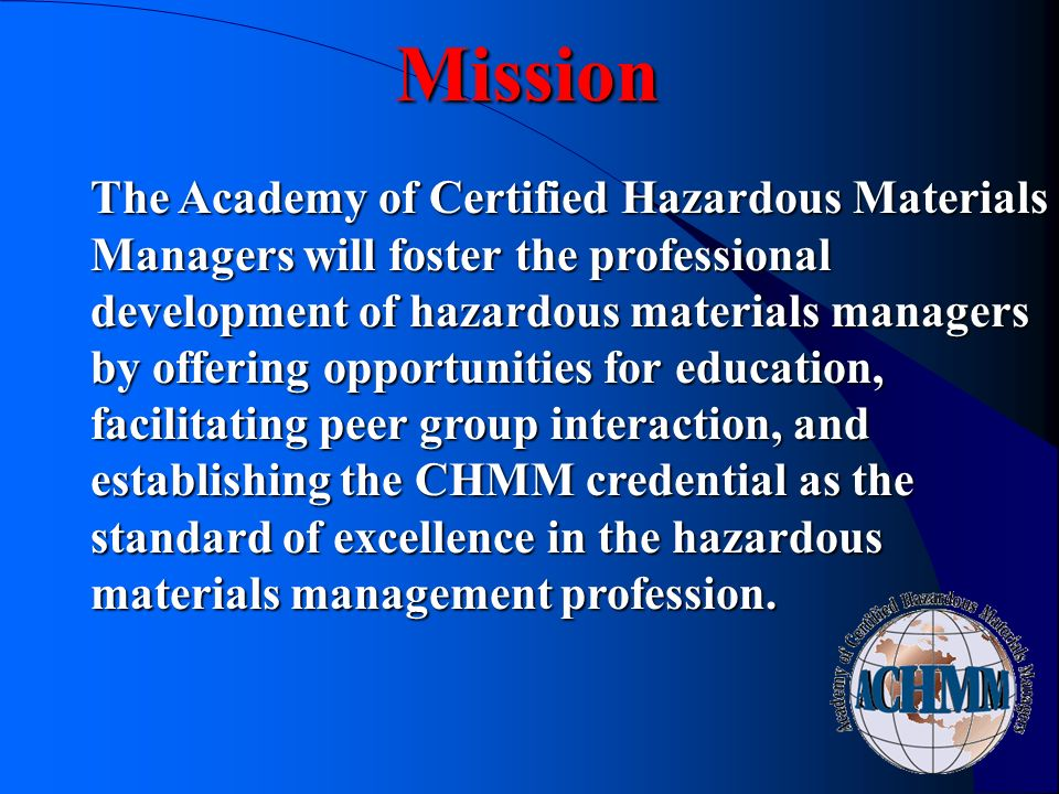 Certified Hazardous Materials Managers Program MeetingDateLocation ...