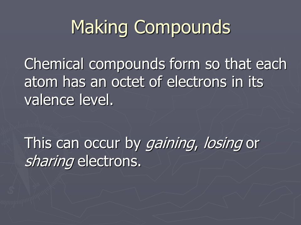 Chemical compounds form so that each atom has an octet of electrons in its valence level.