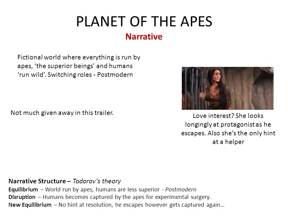 PLANET OF THE APES Narrative Fictional world where everything is run by apes, 'the superior beings' and humans 'run wild'.