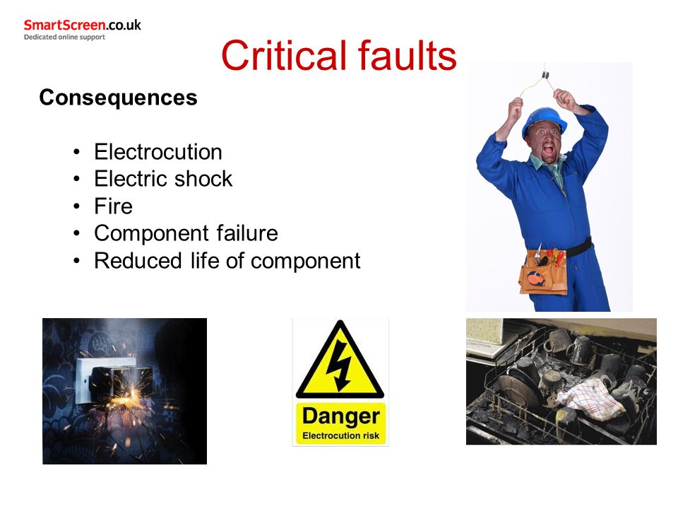 Critical faults Consequences Electrocution Electric shock Fire Component failure Reduced life of component