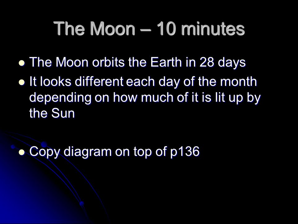 The Moon – 10 minutes The Moon orbits the Earth in 28 days The Moon orbits the Earth in 28 days It looks different each day of the month depending on how much of it is lit up by the Sun It looks different each day of the month depending on how much of it is lit up by the Sun Copy diagram on top of p136 Copy diagram on top of p136