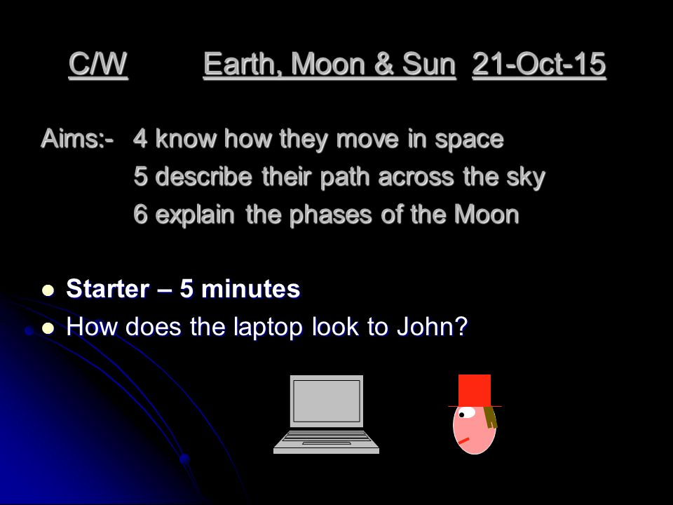 C/WEarth, Moon & Sun21-Oct-15 Aims:-4 know how they move in space 5 describe their path across the sky 5 describe their path across the sky 6 explain the phases of the Moon Starter – 5 minutes Starter – 5 minutes How does the laptop look to John.