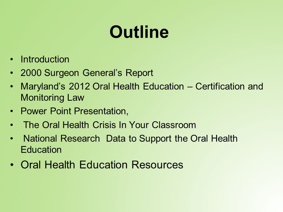 Thank You For Affording Us The Opportunity To Discuss Oral Health