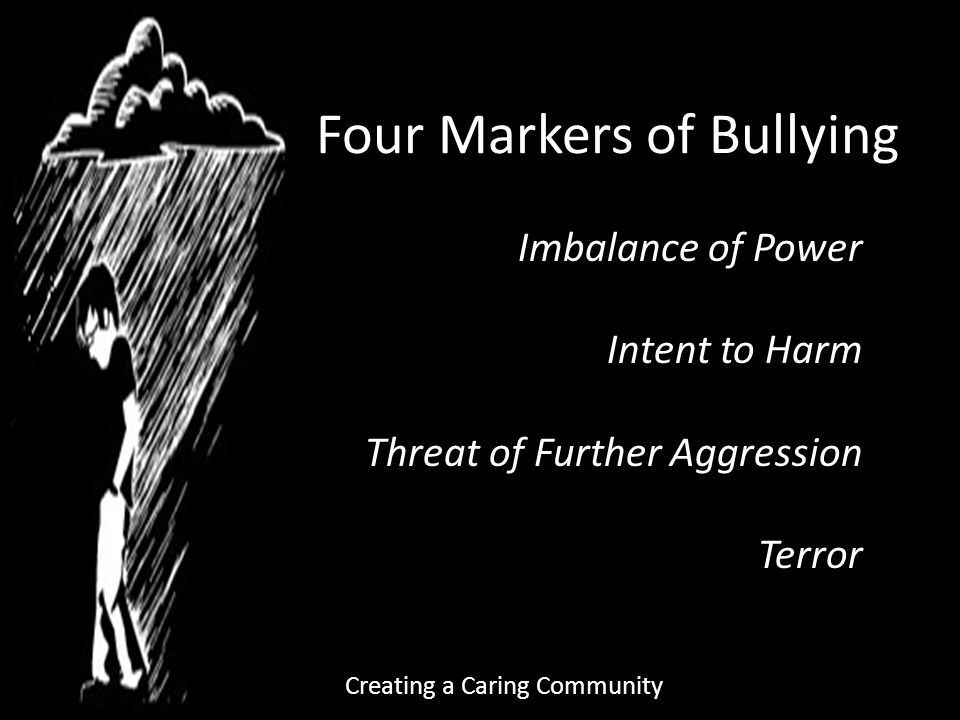Four Markers of Bullying Imbalance of Power Intent to Harm Threat of Further Aggression Terror