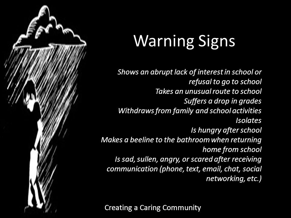 Creating a Caring Community Warning Signs Shows an abrupt lack of interest in school or refusal to go to school Takes an unusual route to school Suffers a drop in grades Withdraws from family and school activities Isolates Is hungry after school Makes a beeline to the bathroom when returning home from school Is sad, sullen, angry, or scared after receiving communication (phone, text,  , chat, social networking, etc.)