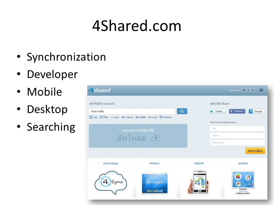 Cloud Storage Dropbox com 4shared com Soundcloud com Scribd
