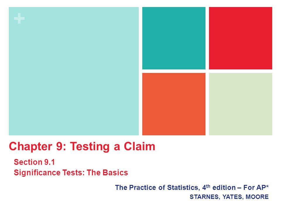 + The Practice of Statistics, 4 th edition – For AP* STARNES, YATES, MOORE Chapter 9: Testing a Claim Section 9.1 Significance Tests: The Basics