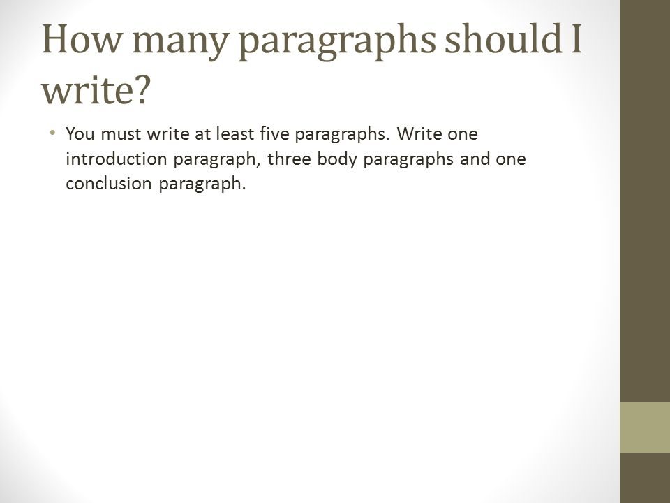 How many paragraphs should I write. You must write at least five paragraphs.