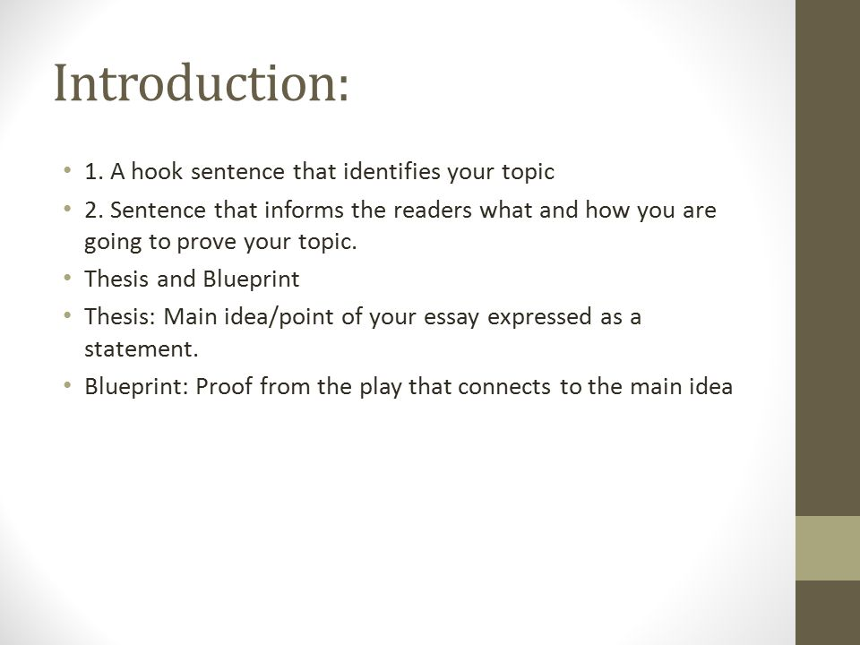 Introduction: 1. A hook sentence that identifies your topic 2.