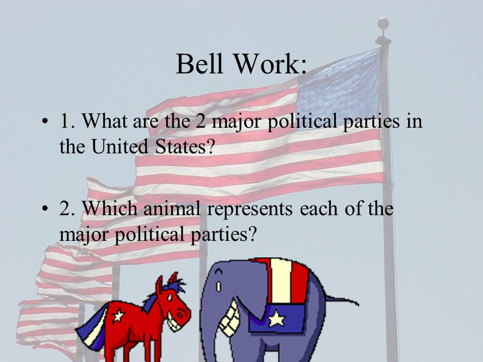 Bell Work: 1. What are the 2 major political parties in the United States.