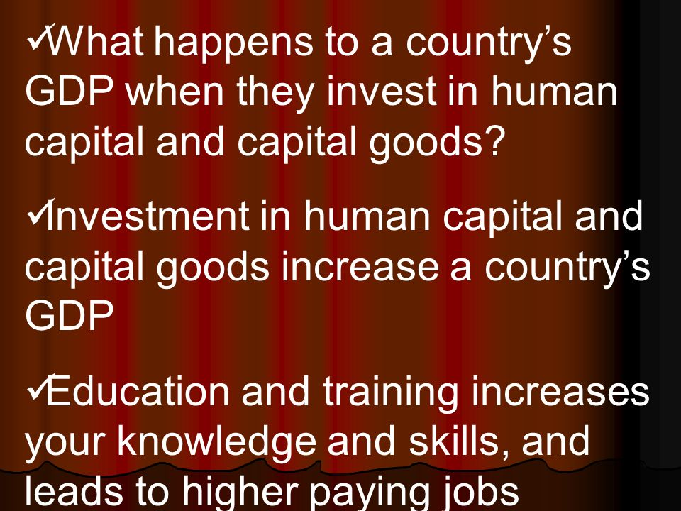 What happens to a country's GDP when they invest in human capital and capital goods.