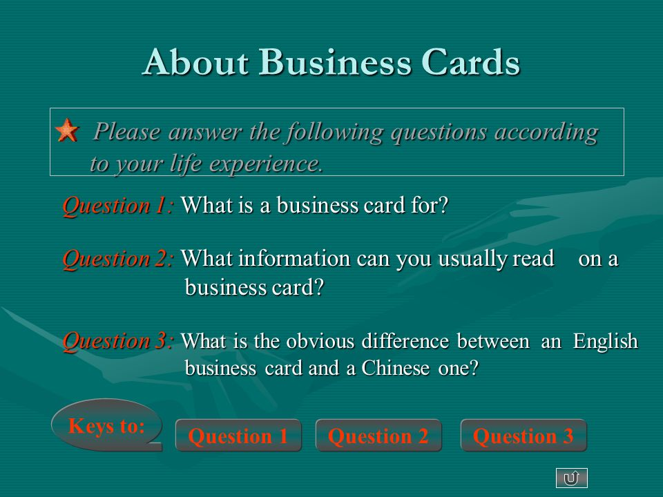 Writing a business card question 1 what is a business card for question 2 what information can you usually read on a business card question 3 what is the obvious difference between an english business card reheart Image collections