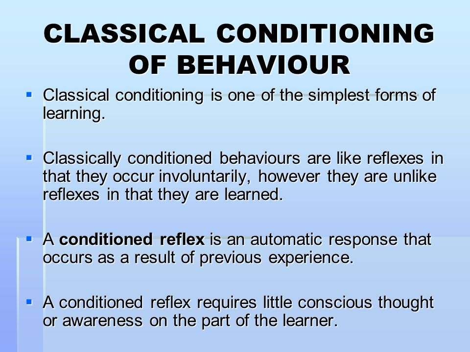 conditioned response learning