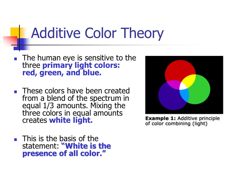 Additive Color Theory The Human Eye Is Sensitive To Three Primary Light Colors Red