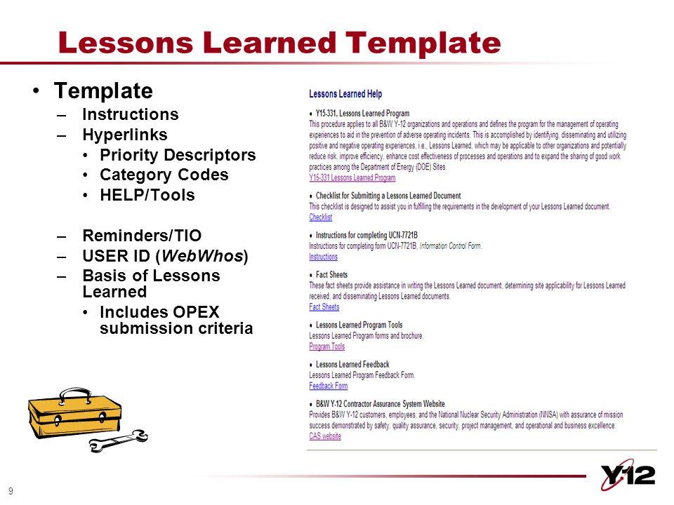 Y-12 Lessons Learned Program Methods & Strategies DOE 2010 ISM ...