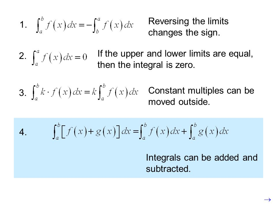 1. If the upper and lower limits are equal, then the integral is zero.