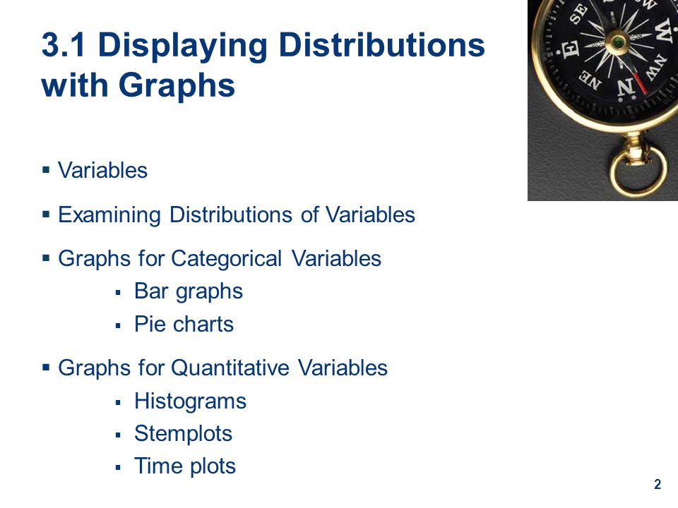 3.1 Displaying Distributions with Graphs  Variables  Examining Distributions of Variables  Graphs for Categorical Variables  Bar graphs  Pie charts  Graphs for Quantitative Variables  Histograms  Stemplots  Time plots 2