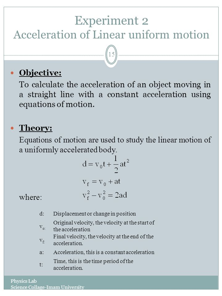 linear motion experiment physics