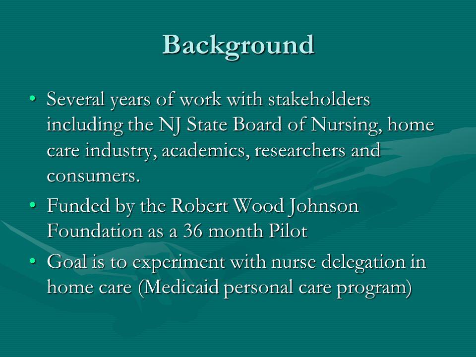 New Jersey Nurse Delegation Pilot Program William A  B