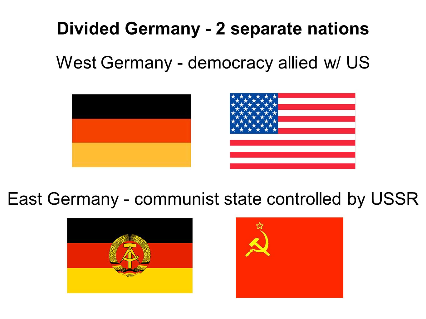 Divided Germany - 2 separate nations West Germany - democracy allied w/ US East Germany - communist state controlled by USSR