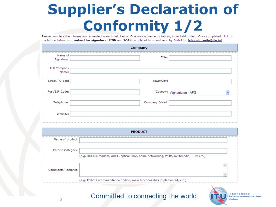Committed to connecting the world 10 Supplier's Declaration of Conformity 1/2